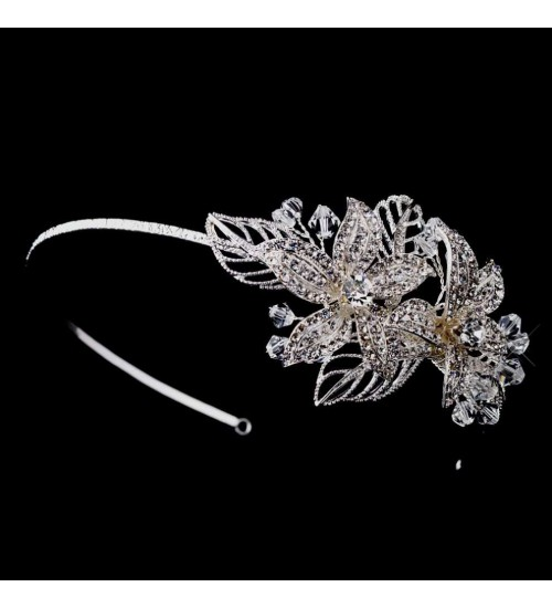 Flower Accented Silver Headband at Jewelry Gem Shop,  Sterling Silver Jewerly | Gemstone Jewelry | Unique Jewelry