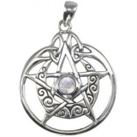 Crescent Moon Pentacle Sterling Silver Pendant with Gemstone