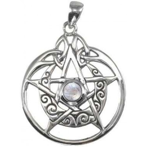 Crescent Moon Pentacle Sterling Silver Pendant with Gemstone at Jewelry Gem Shop,  Sterling Silver Jewerly | Gemstone Jewelry | Unique Jewelry