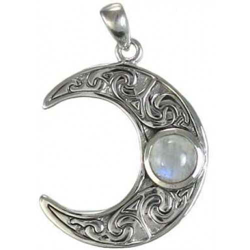 Crescent Moon Sterling Silver Pendant with Gemstone at Jewelry Gem Shop,  Sterling Silver Jewerly | Gemstone Jewelry | Unique Jewelry