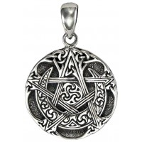 Moon Pentacle Small Sterling Silver Pendant Jewelry Gem Shop  Sterling Silver Jewerly | Gemstone Jewelry | Unique Jewelry
