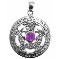 Moon Pentacle Sterling Silver Pendant with Amethyst Jewelry Gem Shop  Sterling Silver Jewerly | Gemstone Jewelry | Unique Jewelry