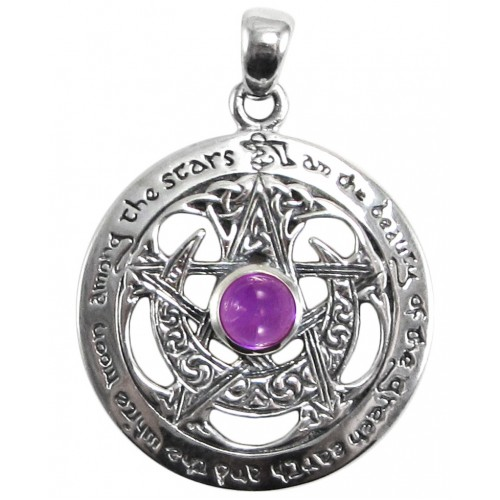 Moon Pentacle Sterling Silver Pendant with Amethyst at Jewelry Gem Shop,  Sterling Silver Jewerly | Gemstone Jewelry | Unique Jewelry