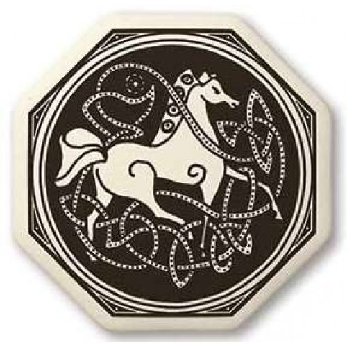 Celtic Horse Porcelain Octagonal Necklace at Jewelry Gem Shop,  Sterling Silver Jewerly | Gemstone Jewelry | Unique Jewelry