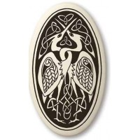 Birds Celtic Porcelain Oval Necklace