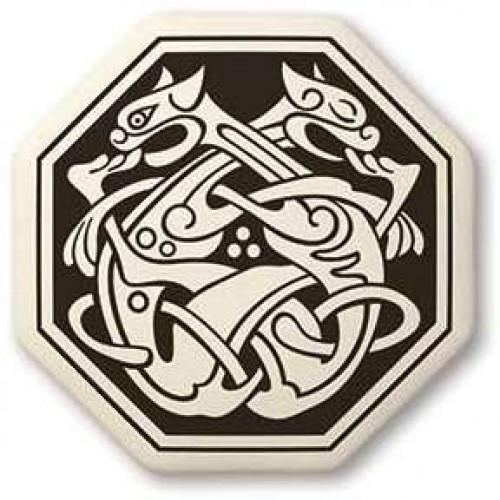 Cat Celtic Octogon Porcelain Necklace