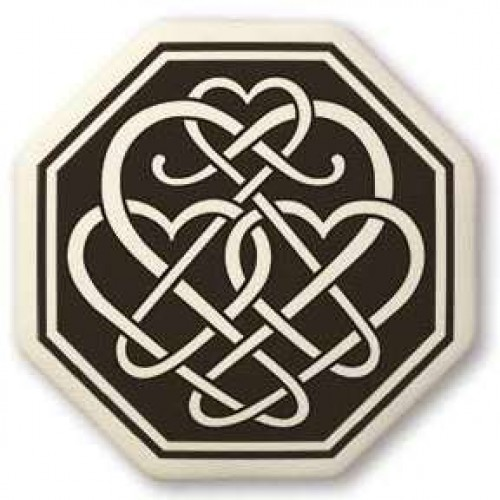 Celtic Heart Octagon Porcelain Necklace at Jewelry Gem Shop,  Sterling Silver Jewerly | Gemstone Jewelry | Unique Jewelry