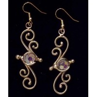 Bronze Swirl Crystal Earrings