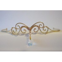 Abstract Swirl Bronze Circlet with Crystal Drop