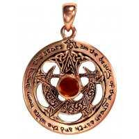 Moon Pentacle Copper Pendant with Amber