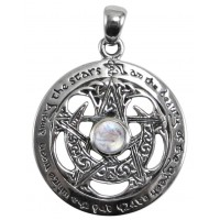 Moon Pentacle Sterling Silver Pendant with Moonstone Jewelry Gem Shop  Sterling Silver Jewerly | Gemstone Jewelry | Unique Jewelry