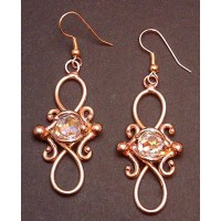 Bronze Figure 8 Crystal Earrings
