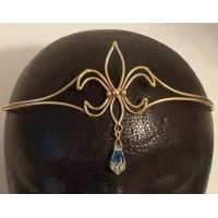 Fleur de Lis Bronze Circlet with Crystal Drop