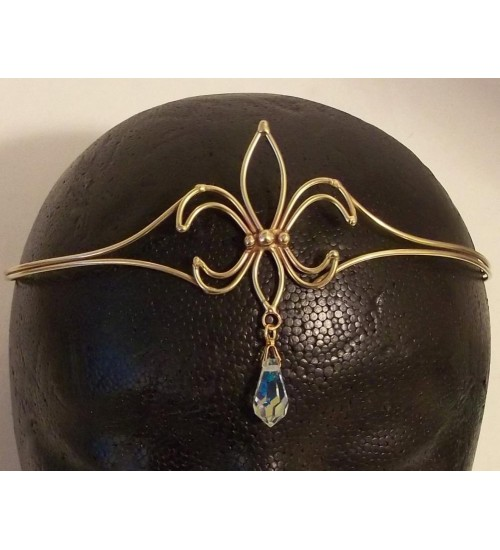 Fleur de Lis Bronze Circlet with Crystal Drop at Jewelry Gem Shop,  Sterling Silver Jewerly | Gemstone Jewelry | Unique Jewelry