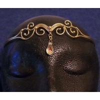 Swirl Bronze Circlet with Crystal Drop
