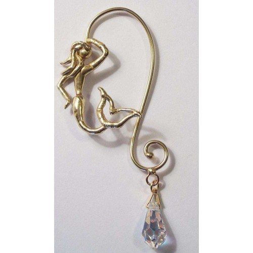 Bronze Mermaid Ear Wrap with Crystal at Jewelry Gem Shop,  Sterling Silver Jewerly | Gemstone Jewelry | Unique Jewelry