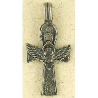 Ankh with Winged Scarab Pewter Necklace Jewelry Gem Shop  Sterling Silver Jewerly | Gemstone Jewelry | Unique Jewelry