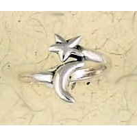 Moon and Star Sterling Silver Ring
