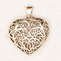 Filigree 2 Sided Heart Bronze Necklace