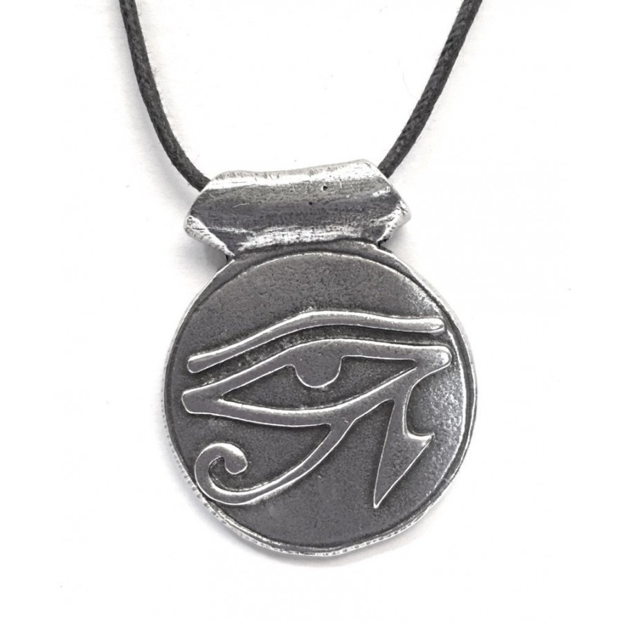 Eye Of Horus Disk Pewter Necklace Egyptian Jewelry
