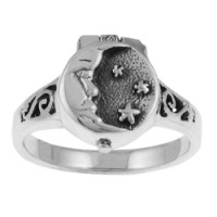 Moon and Stars Poison Ring Jewelry Gem Shop  Sterling Silver Jewerly | Gemstone Jewelry | Unique Jewelry