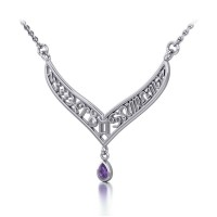 12 Zodiac Symbols Silver Necklace with Teardrop Amethyst Birthstone