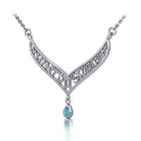 12 Zodiac Symbols Silver Necklace with Teardrop Blue Topaz Birthstone