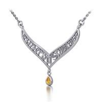 12 Zodiac Symbols Silver Necklace with Teardrop Citrine Birthstone
