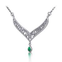 12 Zodiac Symbols Silver Necklace with Teardrop Emerald Birthstone