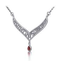 12 Zodiac Symbols Silver Necklace with Teardrop Garnet Birthstone