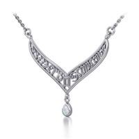 12 Zodiac Symbols Silver Necklace with Teardrop Opal Birthstone