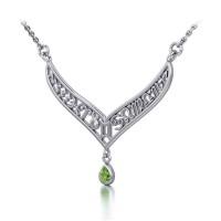 12 Zodiac Symbols Silver Necklace with Teardrop Peridot Birthstone