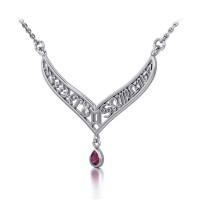 12 Zodiac Symbols Silver Necklace with Teardrop Ruby Birthstone