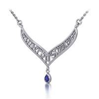 12 Zodiac Symbols Silver Necklace with Teardrop Sapphire Birthstone