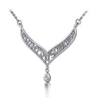 12 Zodiac Symbols Silver Necklace with Teardrop White Cubic Zirconia Birthstone