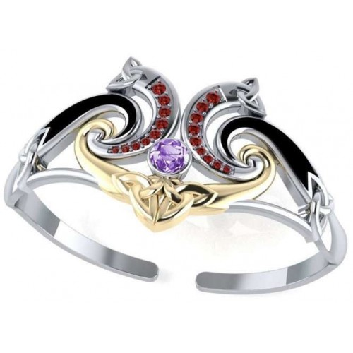 Celtic Knotwork Silver, Gold and Gemstone Cuff Bracelet at Jewelry Gem Shop,  Sterling Silver Jewerly | Gemstone Jewelry | Unique Jewelry