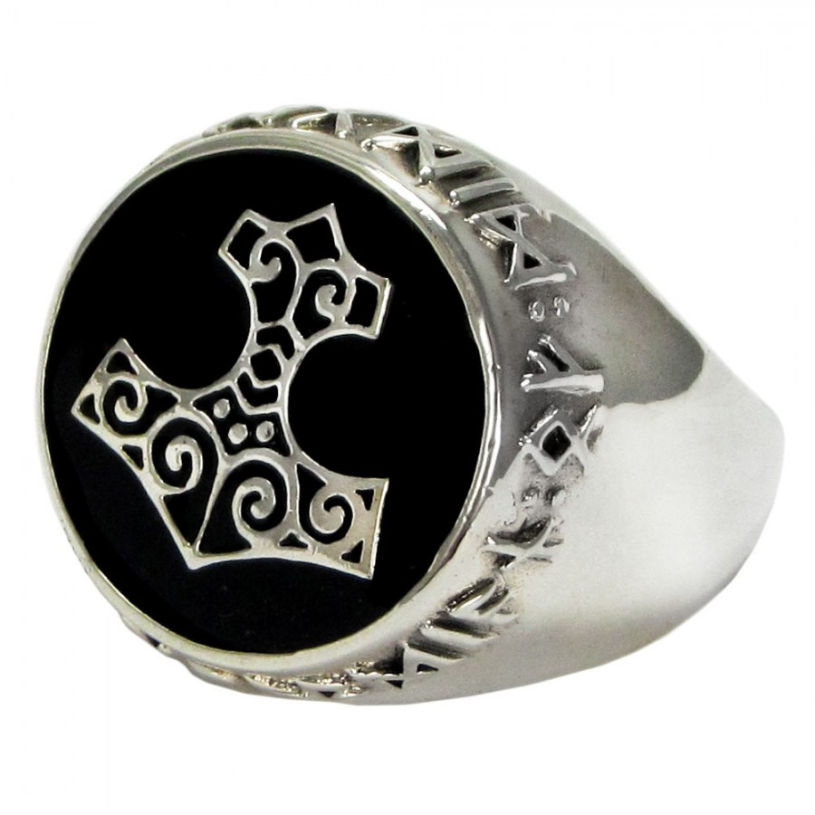 Thor Hammer Sterling Silver Signet Ring At Jewelry Gem Jewerly Gemstone