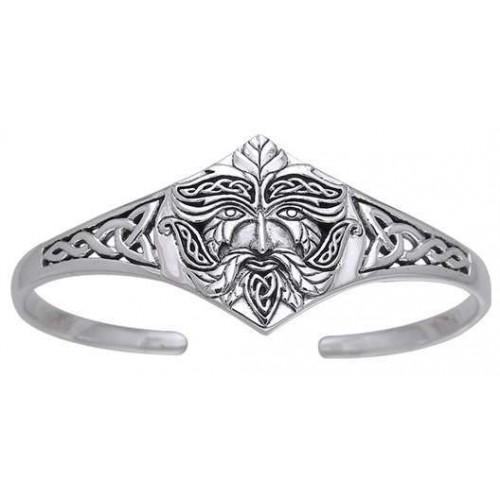 Green Man Sterling Silver Cuff Bracelet at Jewelry Gem Shop,  Sterling Silver Jewerly | Gemstone Jewelry | Unique Jewelry