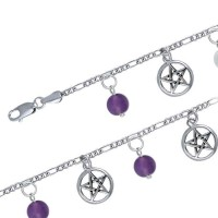 Pentacle and Gemstone Charm Bracelet Jewelry Gem Shop  Sterling Silver Jewerly | Gemstone Jewelry | Unique Jewelry
