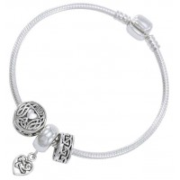 Celtic Heart Sterling Silver Bead Bracelet