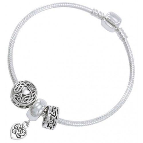 Celtic Heart Sterling Silver Bead Bracelet at Jewelry Gem Shop,  Sterling Silver Jewerly | Gemstone Jewelry | Unique Jewelry