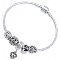 Hearts of Love Sterling Silver Bead Bracelet