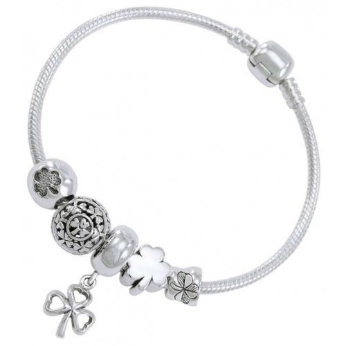 Lucky Irish Shamrock Sterling Silver Bead Bracelet at Jewelry Gem Shop,  Sterling Silver Jewerly | Gemstone Jewelry | Unique Jewelry