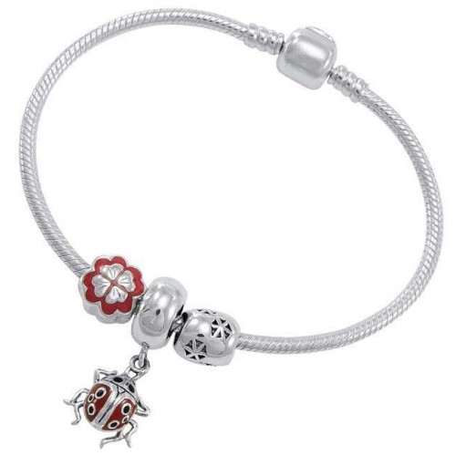 Lady Bug Sterling Silver Bead Bracelet at Jewelry Gem Shop,  Sterling Silver Jewerly | Gemstone Jewelry | Unique Jewelry