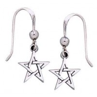 Pentacle Dangle Earrings in Sterling Silver
