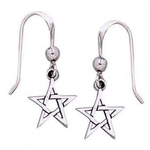 Pentacle Dangle Earrings in Sterling Silver at Jewelry Gem Shop,  Sterling Silver Jewerly | Gemstone Jewelry | Unique Jewelry