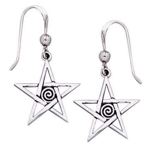 Spiral Pentacle Earrings at Jewelry Gem Shop,  Sterling Silver Jewerly | Gemstone Jewelry | Unique Jewelry