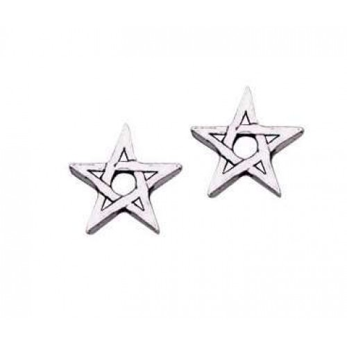 Pentagram Stud Earrings in Sterling Silver at Jewelry Gem Shop,  Sterling Silver Jewerly | Gemstone Jewelry | Unique Jewelry