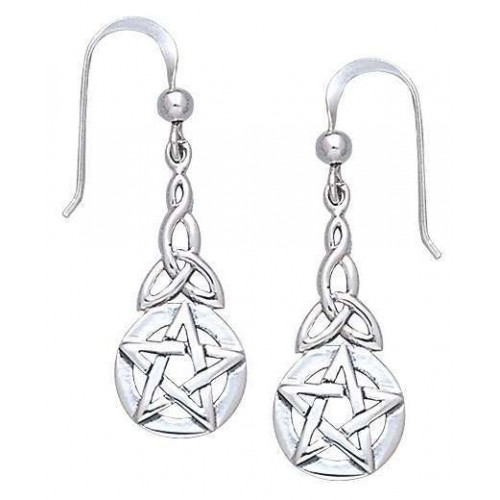 Triquetra Pentacle Earrings in Sterling Silver at Jewelry Gem Shop,  Sterling Silver Jewerly | Gemstone Jewelry | Unique Jewelry