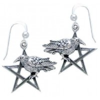 Pentacle Raven Earrings